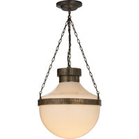 Visual Comfort Studio Schoolhouse 2 Light Pendant in Antique Brass With Verdis MS5030ABV-WG
