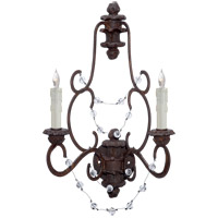 Visual Comfort NW2005RS-CG Niermann Weeks Lombardy 2 Light 17 inch Rusted Steel Sconce Wall Light, Niermann Weeks, Clear Glass