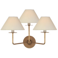 Visual Comfort NW2070GI-L Niermann Weeks Kelley 3 Light 19 inch Gilded Iron Triple Sconce Wall Light Medium