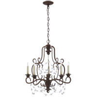 Visual Comfort Niermann Weeks Lombardy 5 Light 21-inch Chandelier in Rusted Steel, Single-Tier, Clear Glass NW5005RS-CG