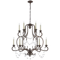 Visual Comfort Niermann Weeks Lombardy 12 Light 36-inch Chandelier in Rusted Steel, Double-Tier, Clear Glass NW5006RS-CG