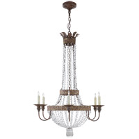 Niermann Weeks Lyon 6 Light 28 inch Antique Gild and Polychrome Chandelier Ceiling Light, Niermann Weeks, Large, Flared Top, Clear Crystal