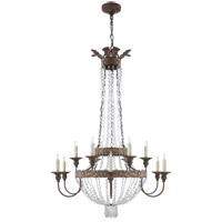 Visual Comfort Niermann Weeks Lyon 12 Light 40-inch Chandelier in Antique Gild and Polychrome, Large, Clear Crystal NW5016AGP-CG