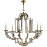 Visual Comfort Niermann Weeks Lido 6 Light 38-inch Chandelier in Antique Mirror, Large NW5041AM/HAB
