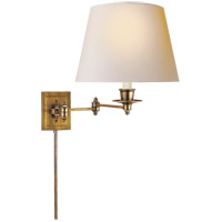 Studio 19 inch 100 watt Hand-Rubbed Antique Brass Swing-Arm Wall Light in Natural Paper