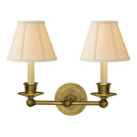 Visual Comfort Studio Classic 2 Light Decorative Wall Light in Hand-Rubbed Antique Brass S2002HAB-L
