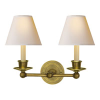 Visual Comfort Studio Classic 2 Light Decorative Wall Light in Hand-Rubbed Antique Brass S2002HAB-NP