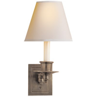 Studio 7 inch 40 watt Antique Nickel Swing-Arm Wall Light in Natural Paper