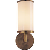 Visual Comfort Studio Cylinder 1 Light Bath Wall Light in Hand-Rubbed Antique Brass S2006HAB-WG