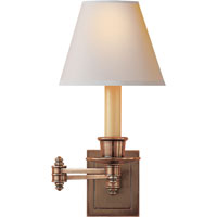 Studio 12 inch 25 watt Hand-Rubbed Antique Brass Swing-Arm Wall Light in Natural Paper