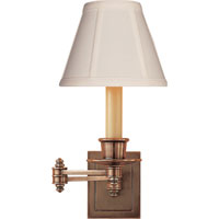 Studio 12 inch 40 watt Hand-Rubbed Antique Brass Swing-Arm Wall Light in Tissue Silk