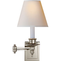 Studio 12 inch 25 watt Polished Nickel Swing-Arm Wall Light in Natural Paper