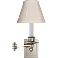 Studio 12 inch 40 watt Polished Nickel Swing-Arm Wall Light in Tissue Silk