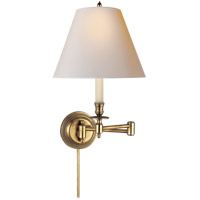 Studio Candle Stick 19 inch 60 watt Hand-Rubbed Antique Brass Swing-Arm Wall Light in Natural Paper
