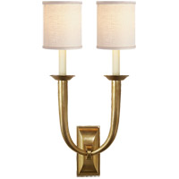 Visual Comfort S2021HAB-L Studio French Deco Horn 2 Light 12 inch Hand-Rubbed Antique Brass Decorative Wall Light in Linen