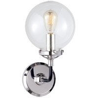 Visual Comfort S2024PN/BLK-CG Ian K. Fowler Bistro 1 Light 6 inch Polished Nickel and Black Decorative Wall Light in Clear Glass