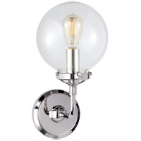 Visual Comfort Studio Bistro 1 Light Decorative Wall Light in Polished Nickel with Clear Glass Shade S2024PN-CG