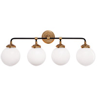 Studio Bistro 4 Light 30 inch Hand-Rubbed Antique Brass and Black Decorative Wall Light in White Glass