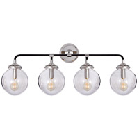 Visual Comfort Studio Bistro 4 Light Decorative Wall Light in Polished Nickel and Black with Clear Glass Shade S2025PN/BLK-CG