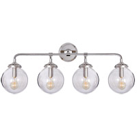 Visual Comfort Studio Bistro 4 Light Decorative Wall Light in Polished Nickel with Clear Glass Shade S2025PN-CG