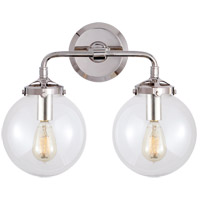 Visual Comfort S2026PN-CG Ian K. Fowler Bistro 2 Light 14 inch Polished Nickel Decorative Wall Light in Clear Glass