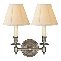 Studio French Library 2 Light 13 inch Antique Nickel Decorative Wall Light in Linen