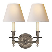 Studio French Library 2 Light 13 inch Antique Nickel Decorative Wall Light in Natural Paper