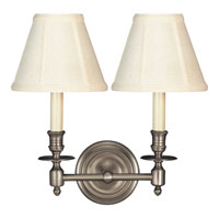 Studio French Library 2 Light 13 inch Antique Nickel Decorative Wall Light in Tissue Silk