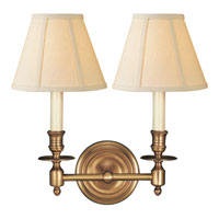Visual Comfort Studio French Library 2 Light 13 inch Hand-Rubbed Antique Brass Decorative Wall Light in Linen S2112HAB-L - Open Box