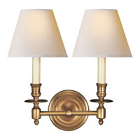 Visual Comfort Studio French 2 Light Decorative Wall Light in Hand-Rubbed Antique Brass S2112HAB-NP