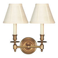 Visual Comfort S2112HAB-T Studio French Library 2 Light 13 inch Hand-Rubbed Antique Brass Decorative Wall Light in Tissue Silk