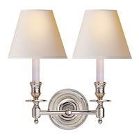 Studio French Library 2 Light 13 inch Polished Nickel Decorative Wall Light in Natural Paper