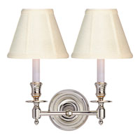 Studio French Library 2 Light 13 inch Polished Nickel Decorative Wall Light in Tissue Silk