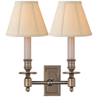 Studio French 2 Light 12 inch Antique Nickel Decorative Wall Light in Linen