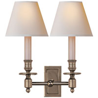 Studio French 2 Light 12 inch Antique Nickel Decorative Wall Light in Natural Paper