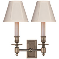 Visual Comfort Studio French 2 Light Decorative Wall Light in Antique Nickel S2212AN-T
