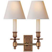 Visual Comfort Studio French 2 Light Decorative Wall Light in Hand-Rubbed Antique Brass S2212HAB-NP