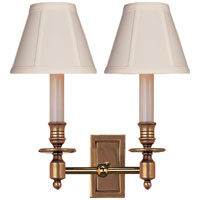 Visual Comfort Studio French 2 Light Decorative Wall Light in Hand-Rubbed Antique Brass S2212HAB-T