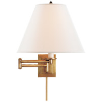 Studio Primitive 18 inch 100 watt Hand-Rubbed Antique Brass Swing-Arm Wall Light in Linen