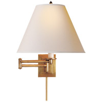 Studio Primitive 18 inch 100 watt Hand-Rubbed Antique Brass Swing-Arm Wall Light in Natural Paper