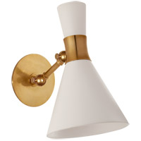 Visual Comfort S2640HAB-WHT Studio Vc Liam 1 Light 7 inch Hand-Rubbed Antique Brass Articulating Sconce Wall Light in Matte White, Small photo thumbnail