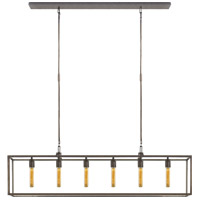 Visual Comfort Studio Belden 6 Light Linear Pendant in Aged Iron with Wax S5015AI