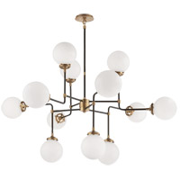 Visual Comfort Studio Bistro 12 Light Chandelier in Hand-Rubbed Antique Brass with White Glass Shade S5022HAB-WG