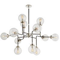 Visual Comfort Studio Bistro 12 Light Chandelier in Polished Nickel with Clear Glass Shade S5022PN-CG