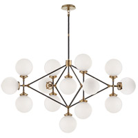 Visual Comfort Studio Bistro 13 Light Chandelier in Hand-Rubbed Antique Brass and Black with White Glass Shade S5024HAB/BLK-WG