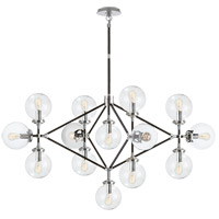 Visual Comfort Studio Bistro 13 Light Chandelier in Polished Nickel and Black with Clear Glass Shade S5024PN/BLK-CG
