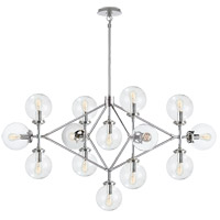 Visual Comfort Studio Bistro 13 Light Chandelier in Polished Nickel with Clear Glass Shade S5024PN-CG