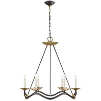 Barry Goralnick Choros 6 Light 29 inch Aged Iron with Hand-Rubbed Antique Brass Accents Chandelier Ceiling Light in Aged Iron with Wax