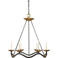 Visual Comfort Studio Choros 6 Light Chandelier in Aged Iron with Wax S5040AI