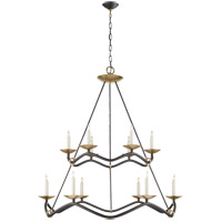 Visual Comfort Studio Choros 12 Light Chandelier in Aged Iron S5041AI